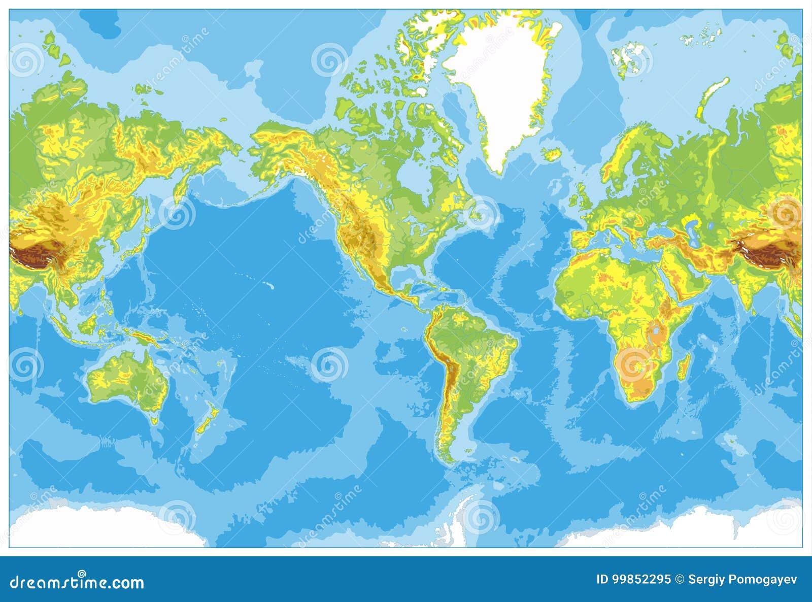 América centró el mapa del mundo físico Ningún texto y fronteras