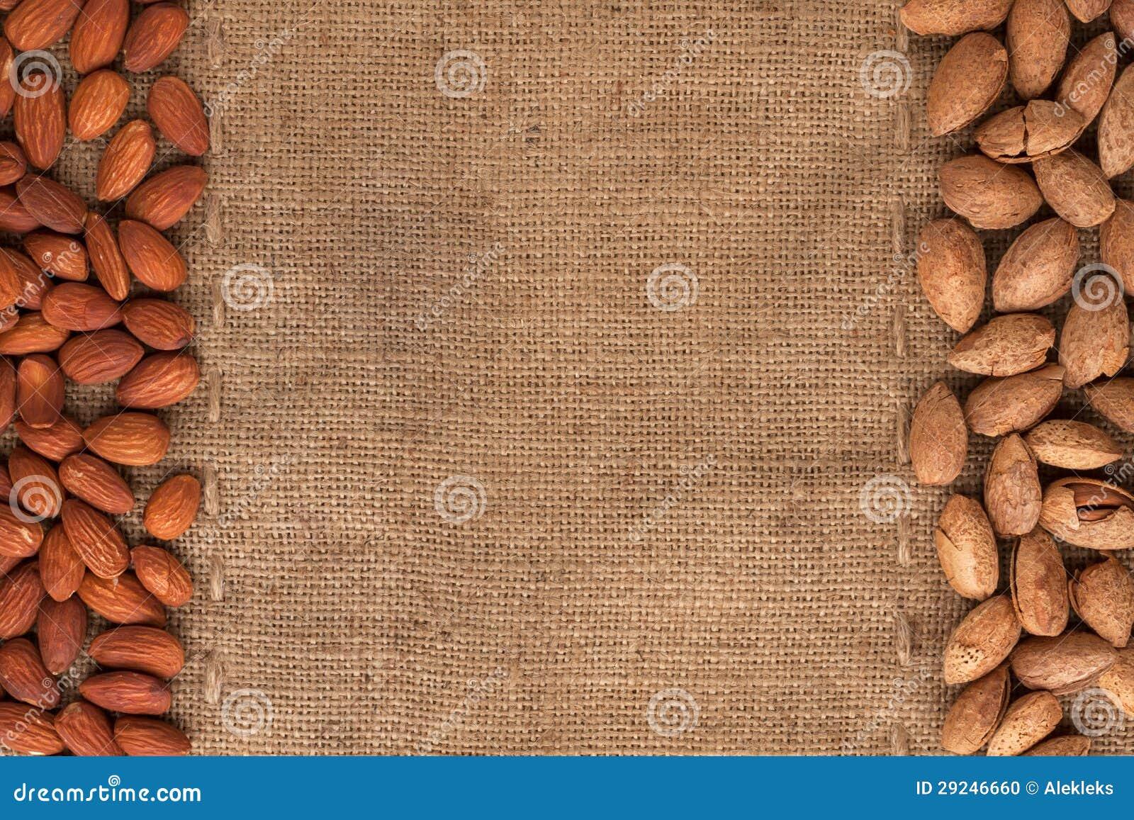 Download Amêndoas Descascadas E Unshelled Que Encontram-se No Sackcloth Foto de Stock - Imagem de lona, amêndoas: 29246660