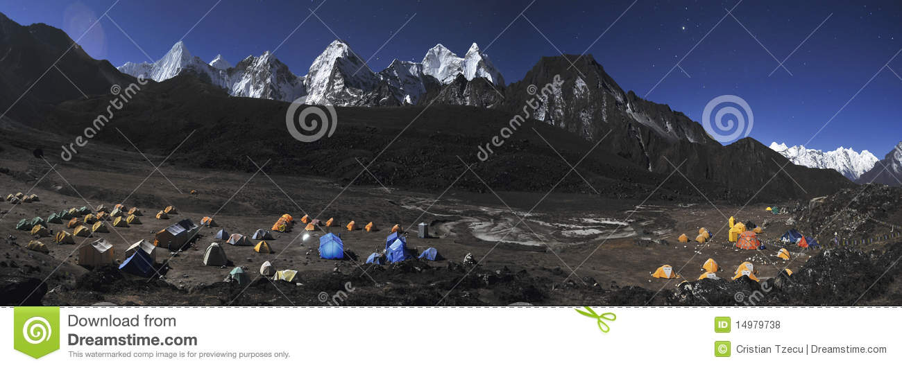 Night photography of Ama Dablam Base Camp Panorama  Nepal  Himalaya Ama Dablam Base Camp