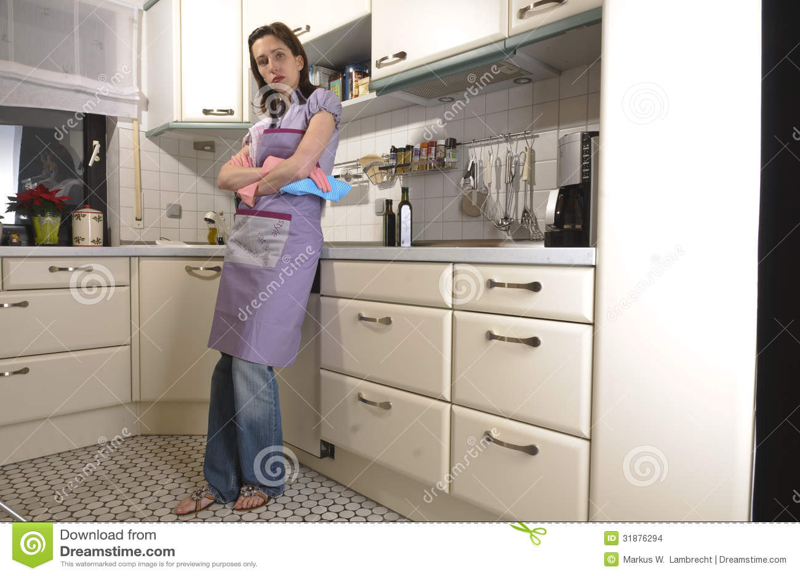 Ama de casa en la cocina limpiando foto de archivo - La cocina en casa ...