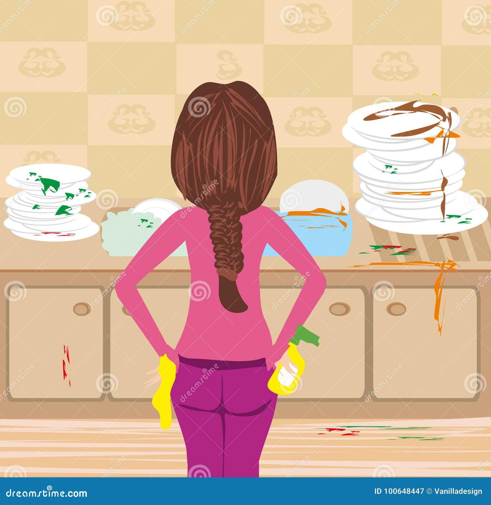Ama De Casa Que Limpia La Cocina Sucia Ilustracion Del Vector