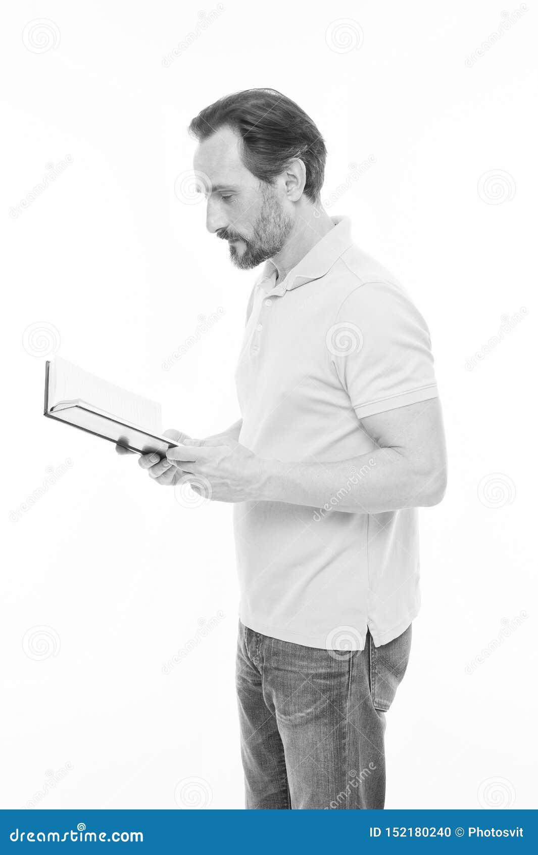 Ama ser um estudante Livro superior da terra arrendada do treinador do neg?cio Livro de leitura farpado do homem Homem de neg?cio