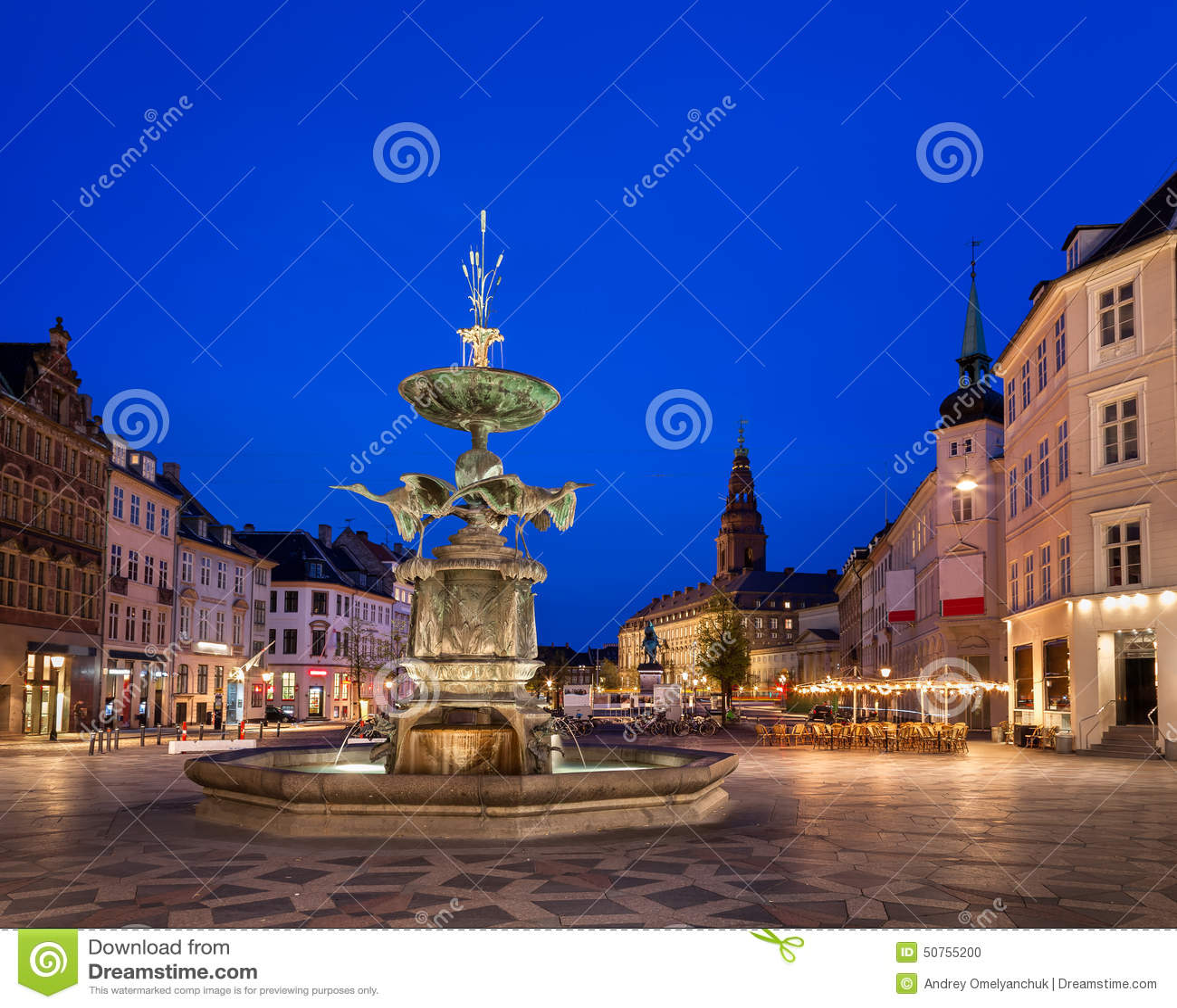 Amagertorv广场和鹳喷泉在老镇