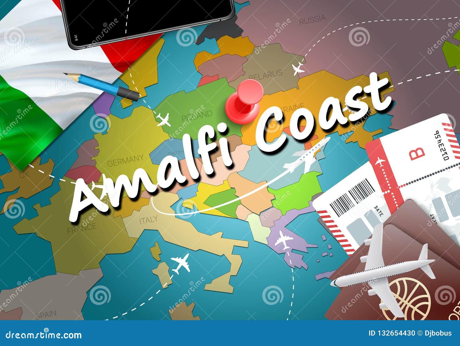 Amalfi Coast City Travel And Tourism Destination Concept