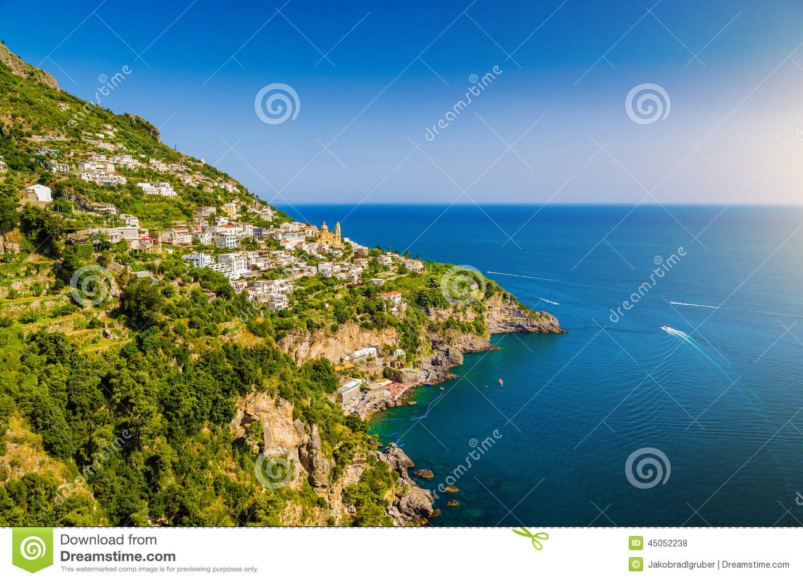 Amalfi Coast with Gulf of Salerno in beautiful evening light, Campania, Italy