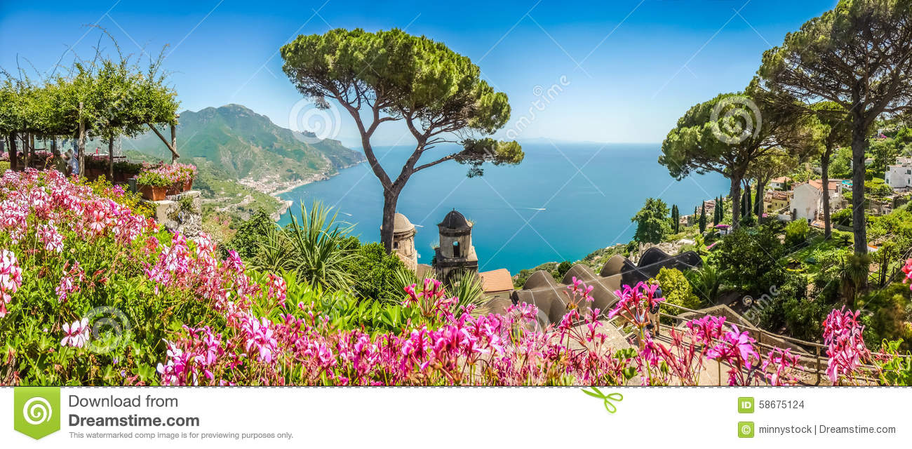 Amalfi Coast From Villa Rufolo Gardens In Ravello