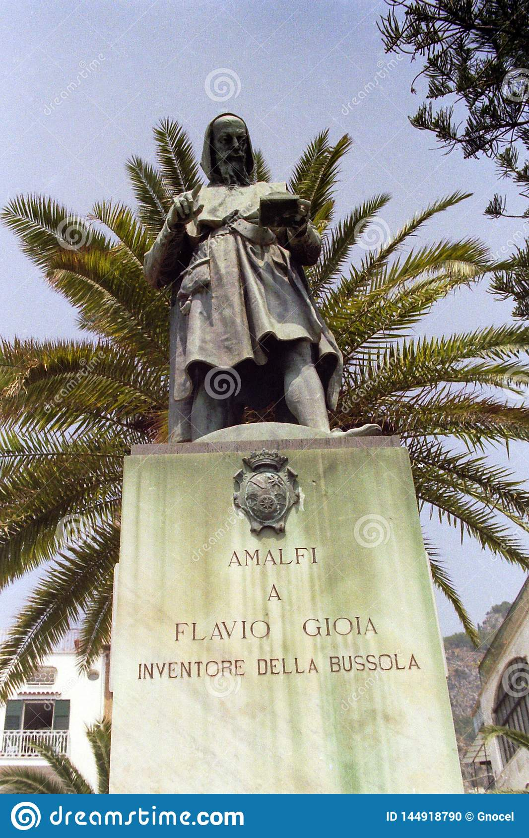 AMALFI, ITALY, 1980 - In the square of the same name stands the statue of to Falvio Gioia, the mythical inventor of the compass,
