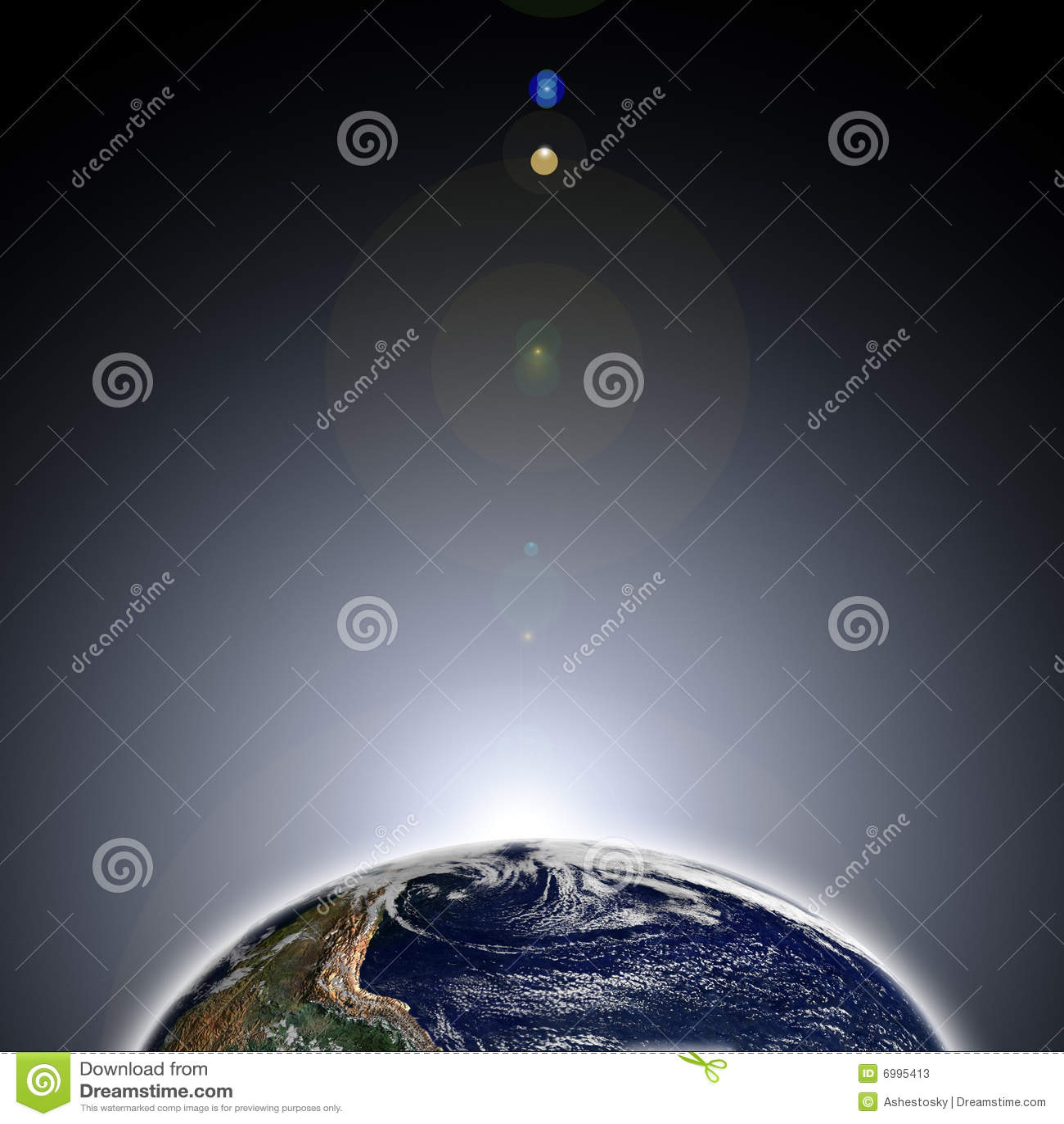 Amanecer en la tierra del espacio