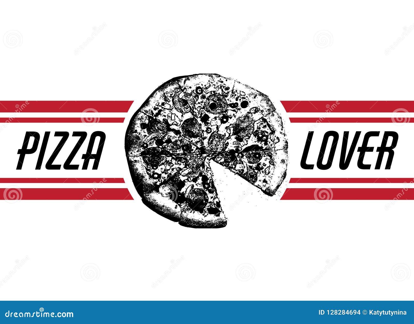 Amante de la pizza Vector el ejemplo dibujado mano de la pizza con la inscripción y las rayas