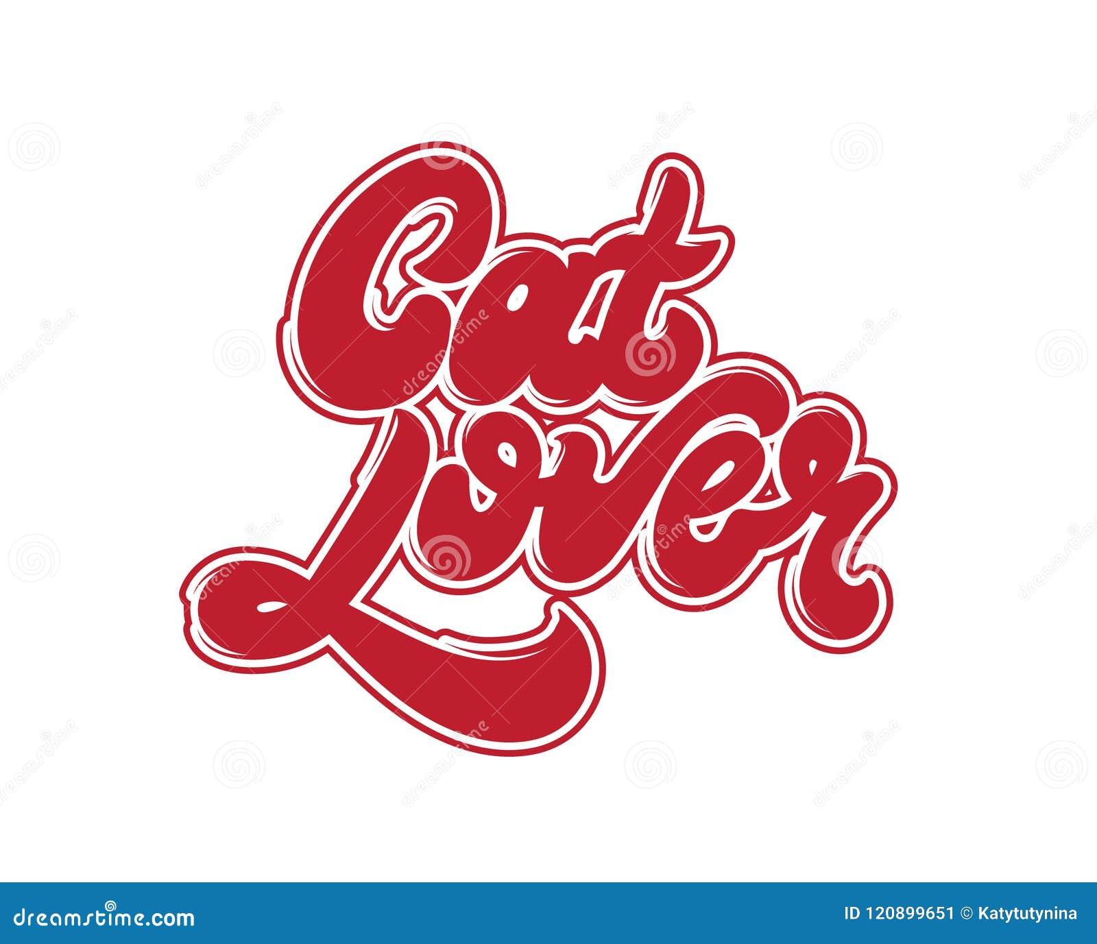 Amante del gato Letras manuscritas del vector