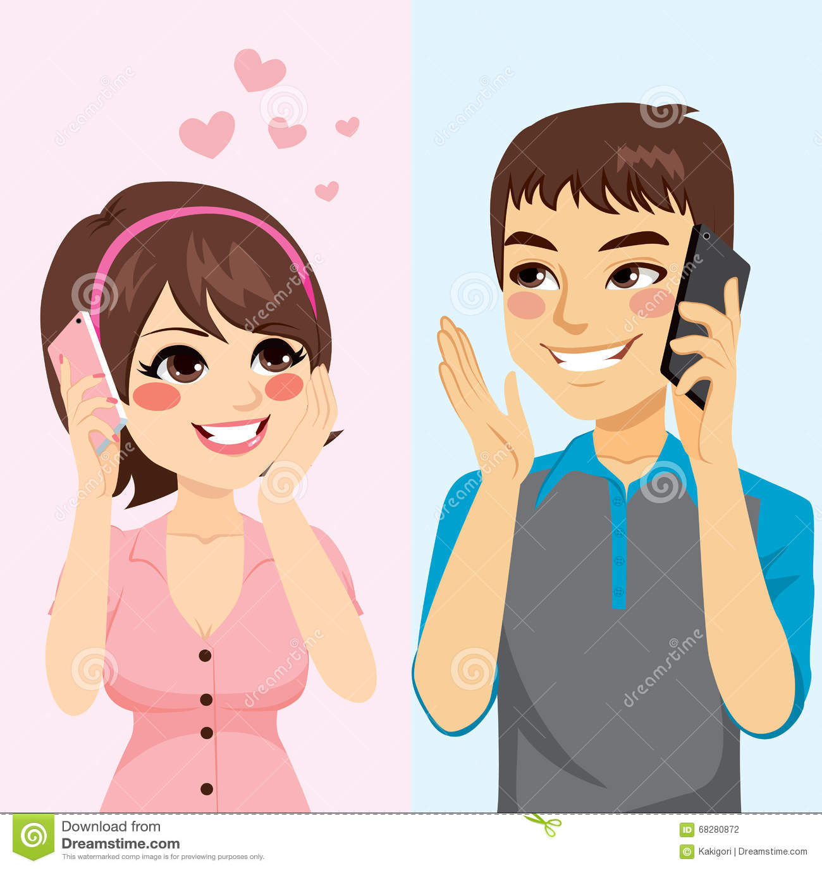 Amanti che parlano telefono