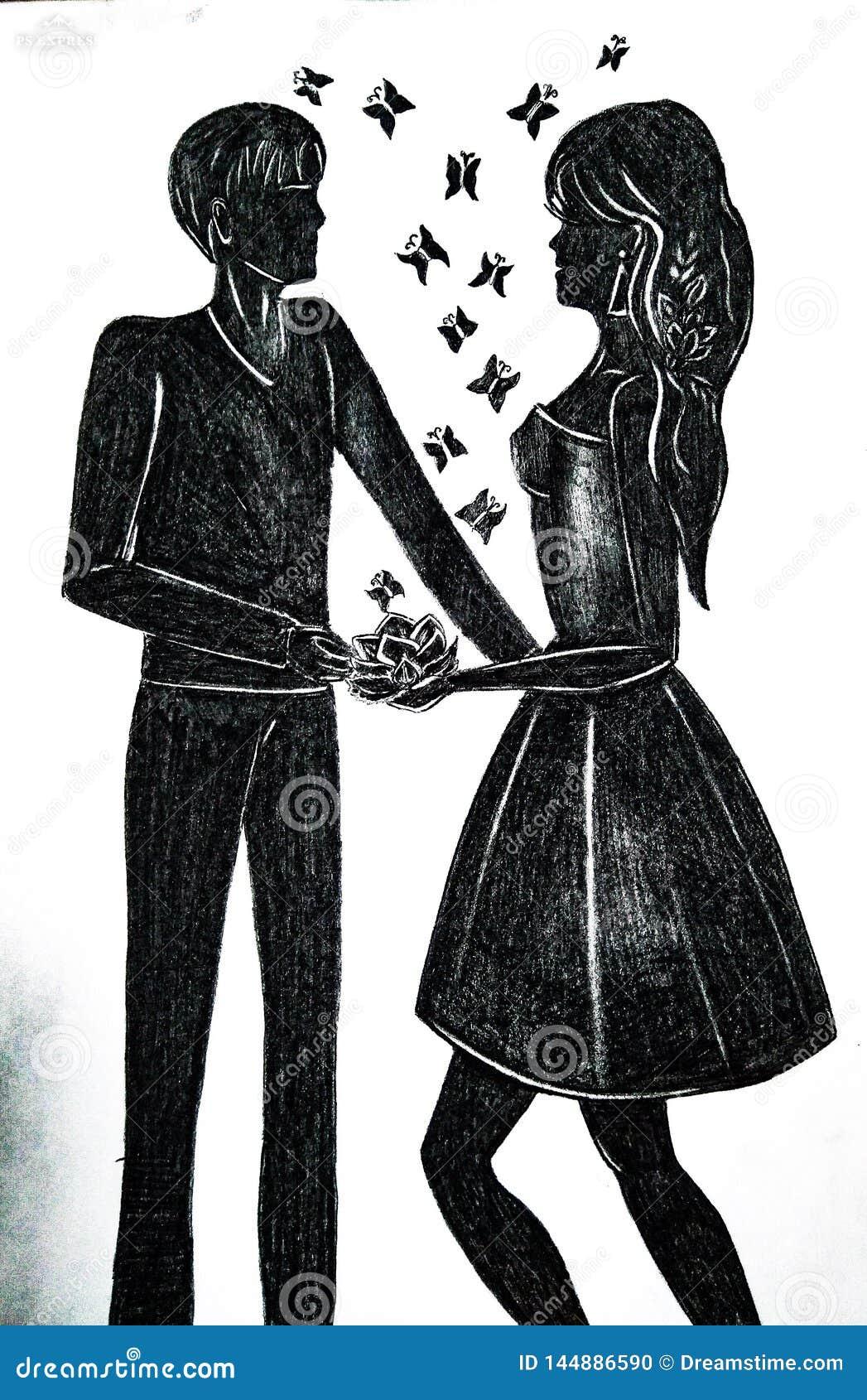 Amants fille et type
