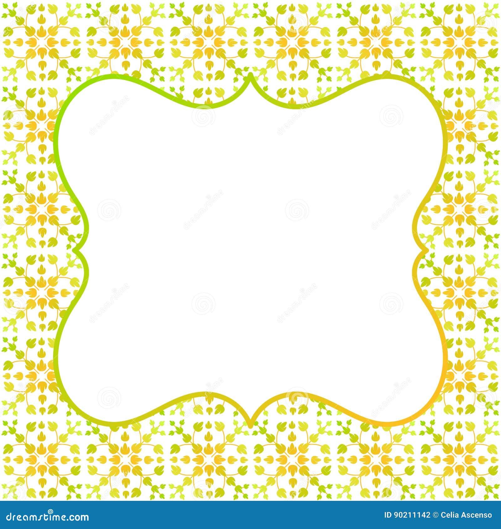 Amarillo Cuadrado Del Verde Del Marco De La Frontera Stock de ...