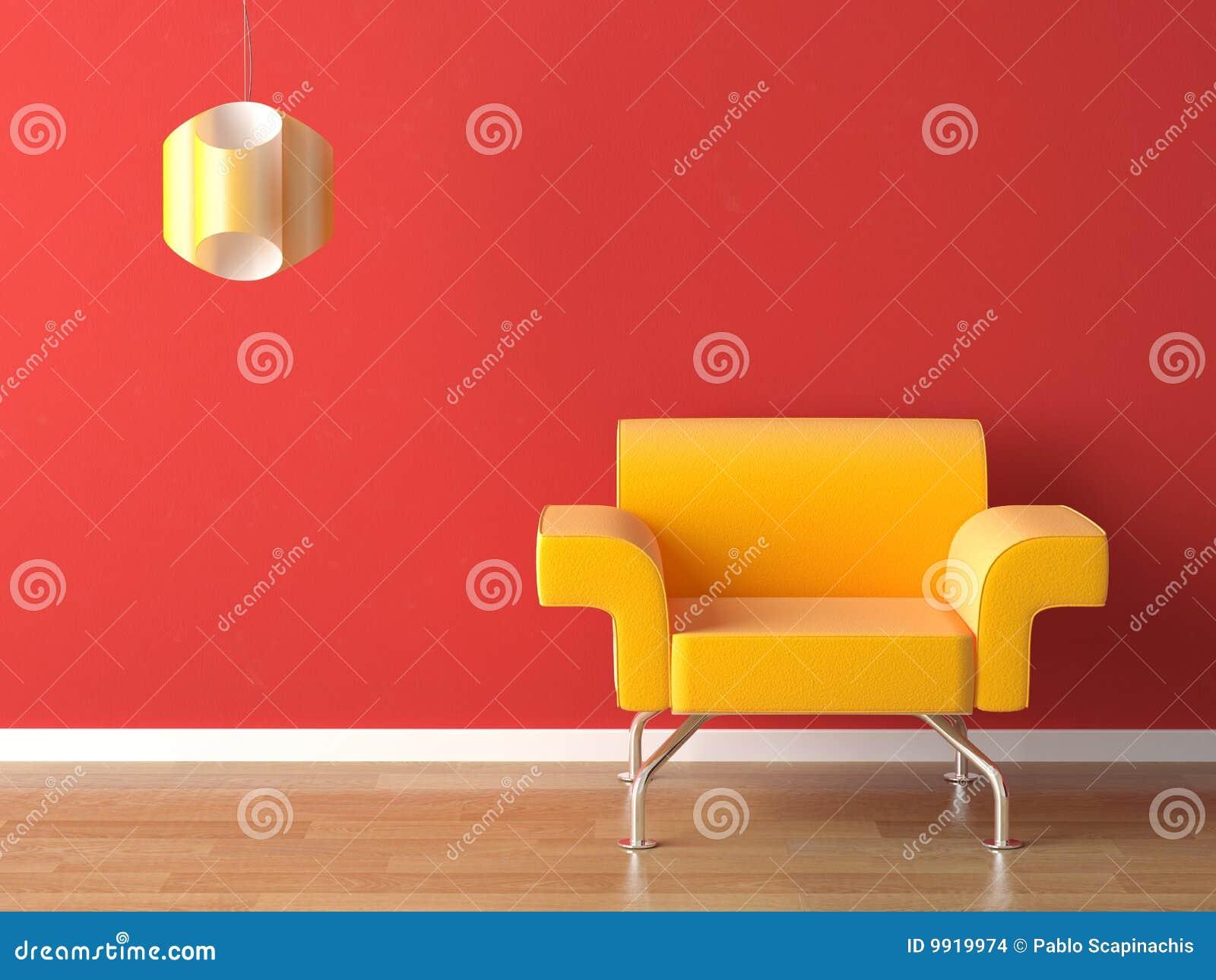 Amarillo del diseño interior en rojo