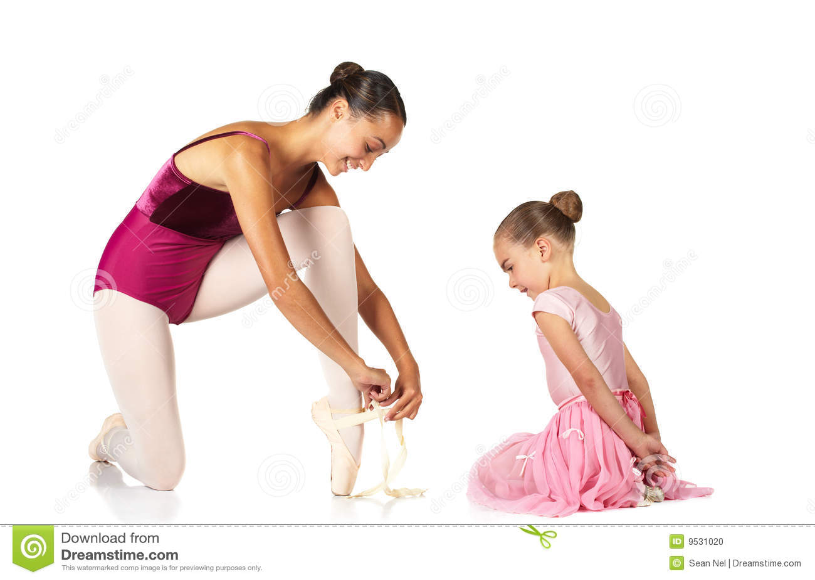 Amarrando sapatas de bailado