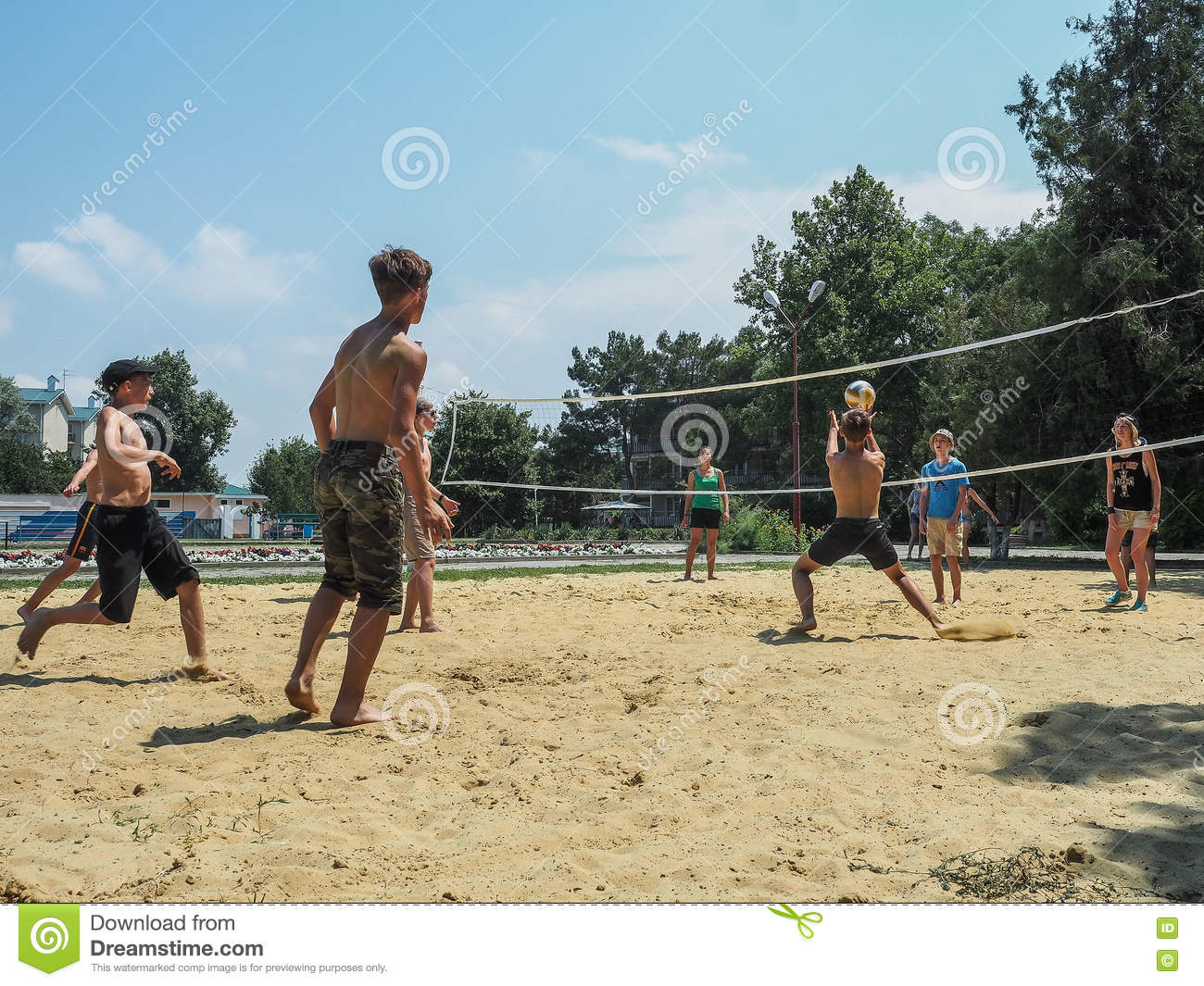 Amateur beach volleyball competition in the children s recreation camp in Anapa in Krasnodar region of Russia.