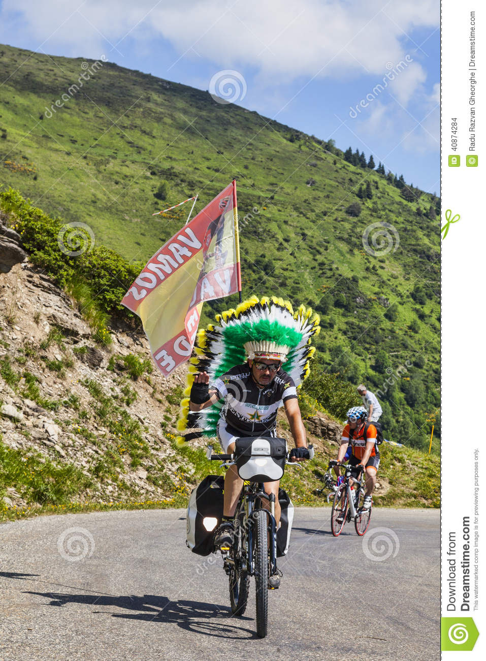 Amateur Cyclist in Pyrenees Mountains