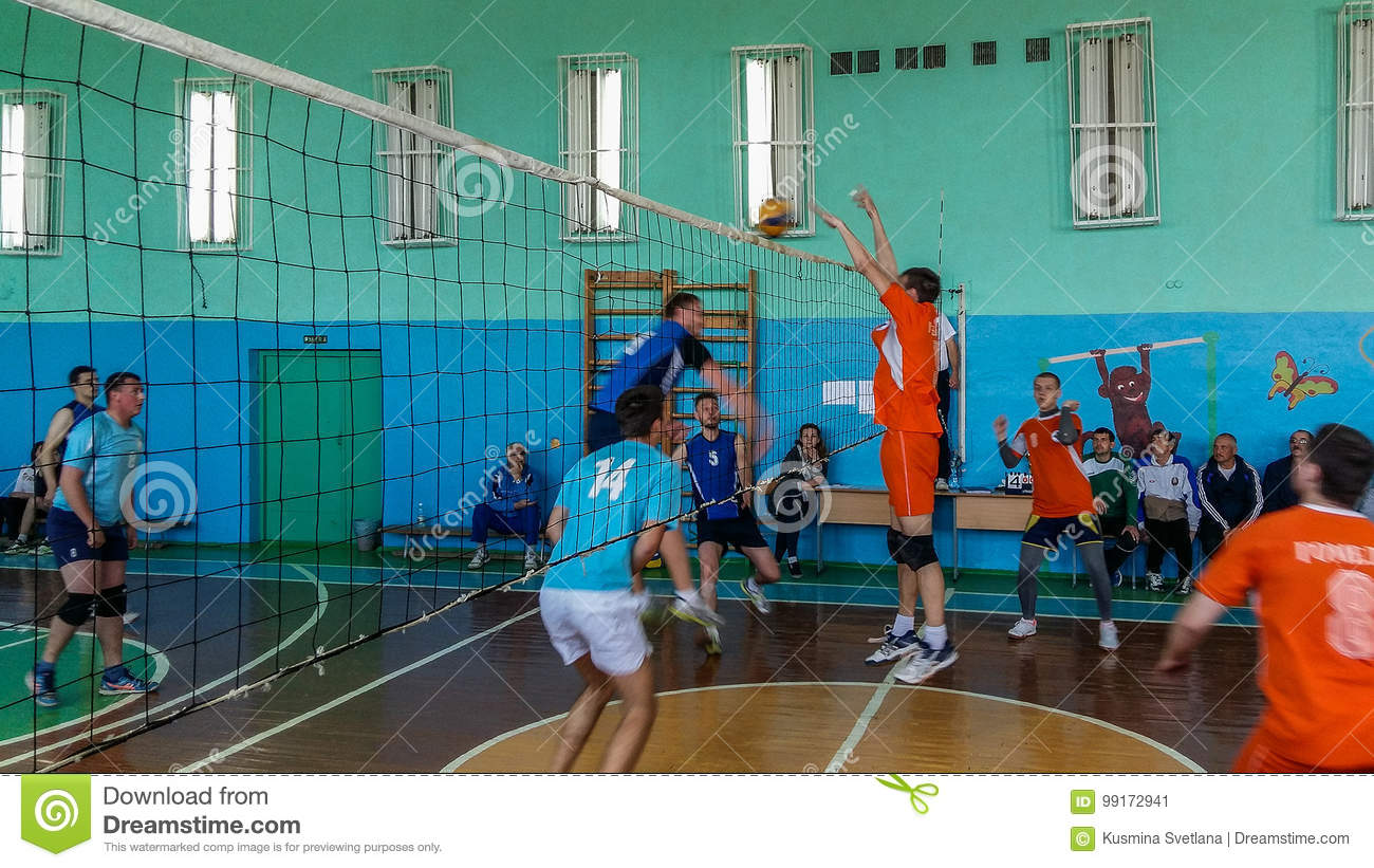 Amateur volleyball competition in the Gomel region of Belarus.
