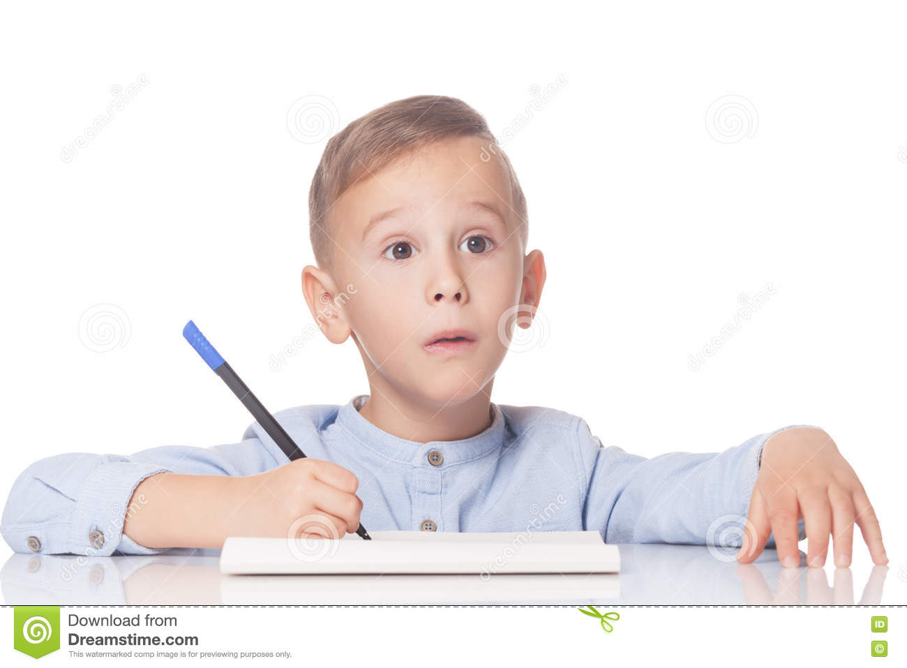 Download Amazed boy with pen stock photo. Image of person, people - 79667342
