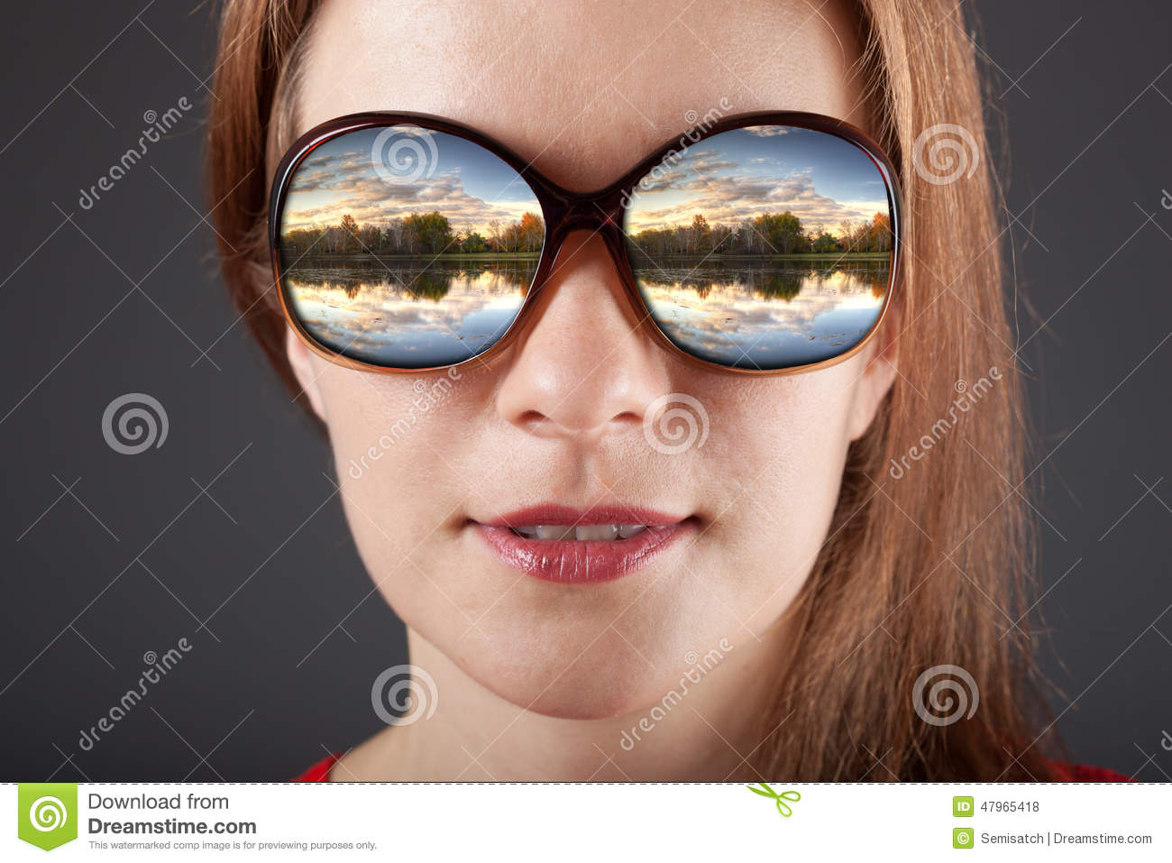 401cab7072 Amazed Girl In Sunglasses With Reflection Stock Photo - Image of ...