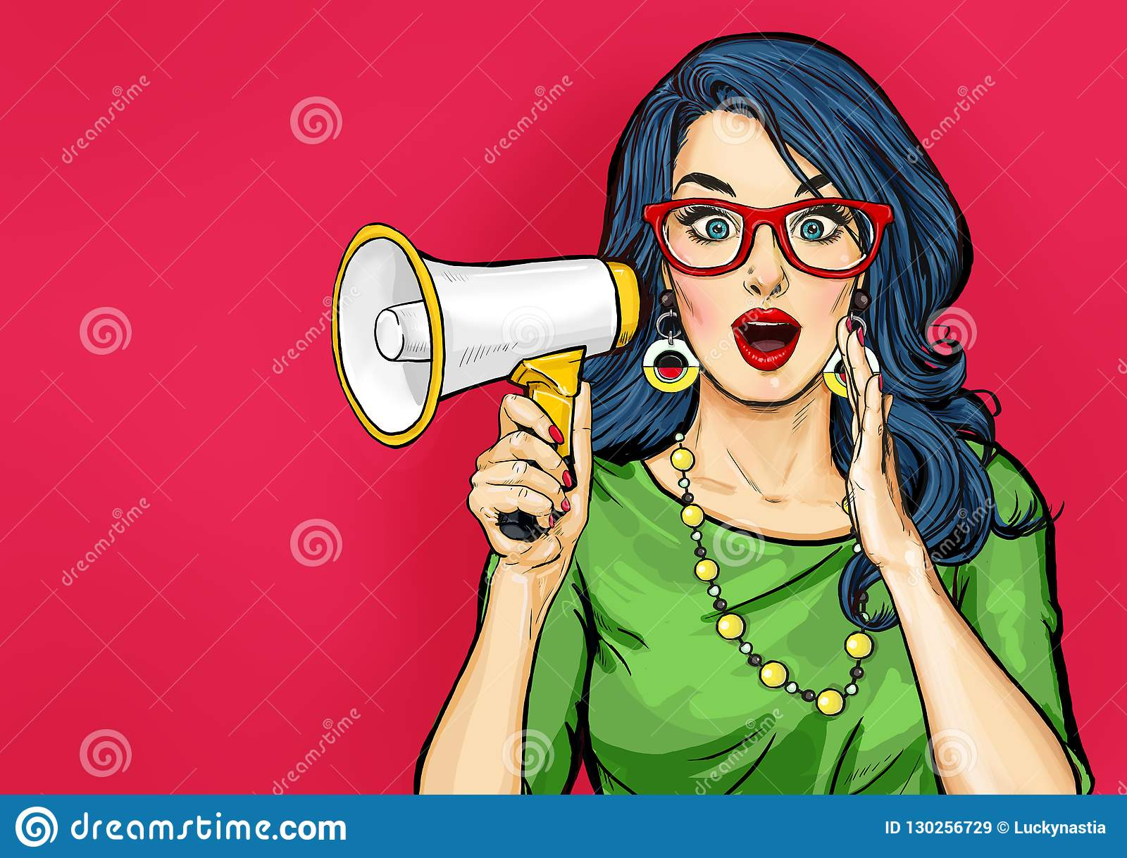 Amazed Pop art girl in glasses with megaphone saying something. Woman with loudspeaker.
