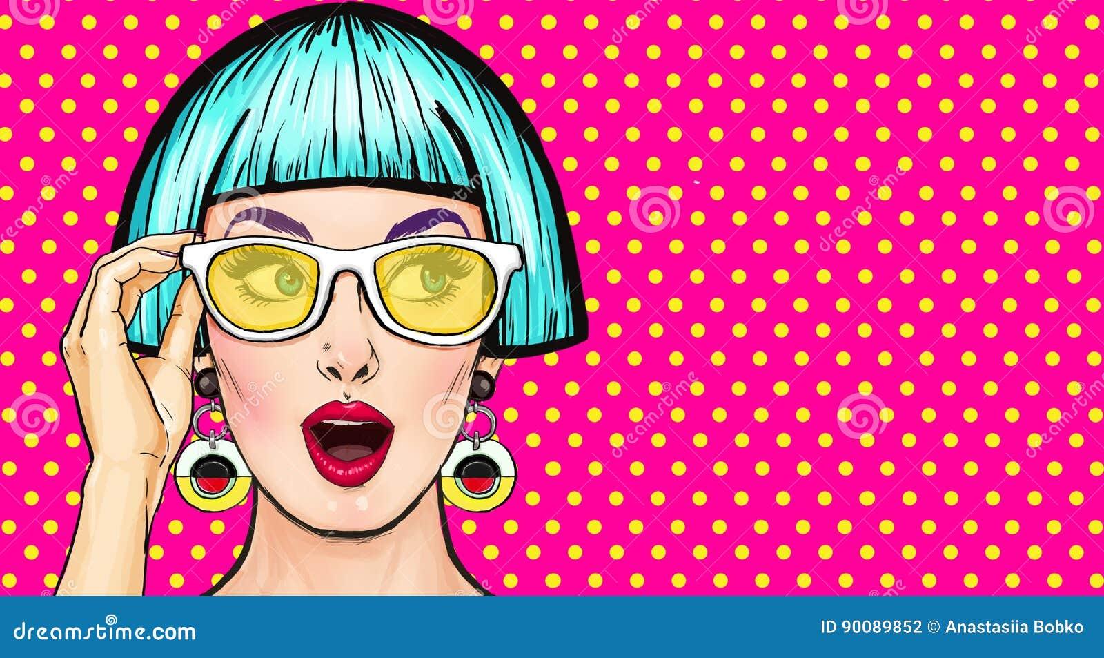 Amazed Pop Art Girl In Glasses Party InvitationBirthday CardComic WomanSexy