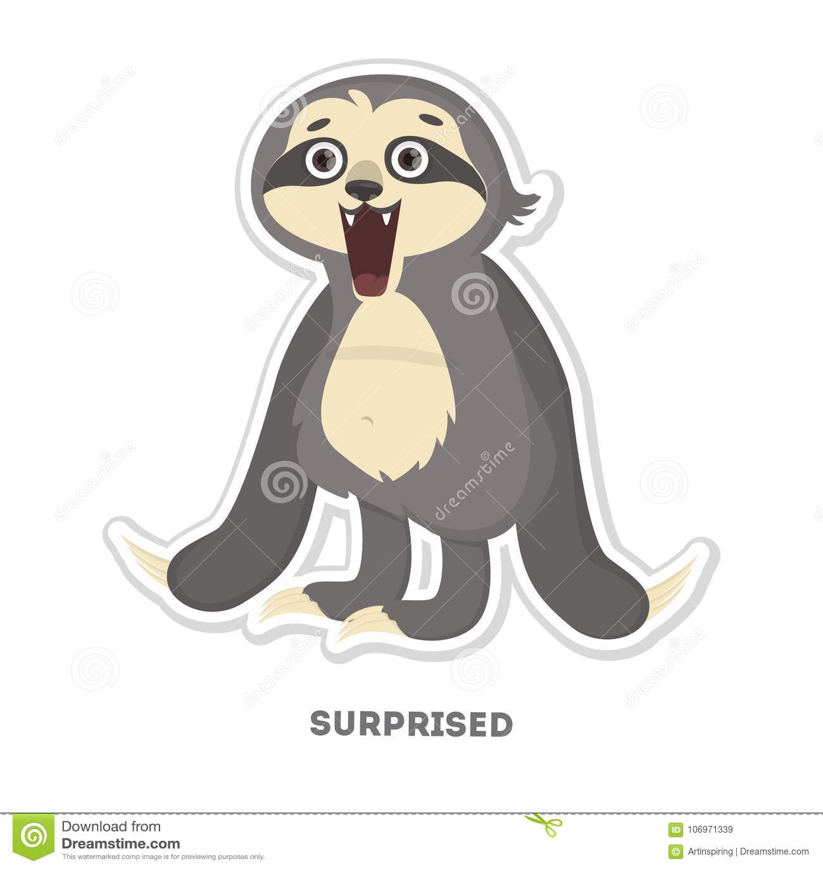 Amazed sloth sticker