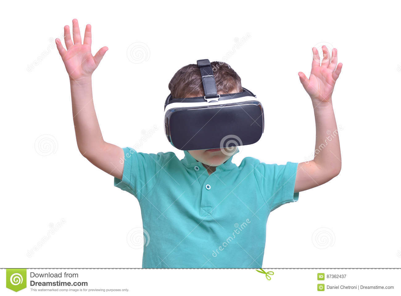 Teen boy in VR glasses stock photo. Image of people