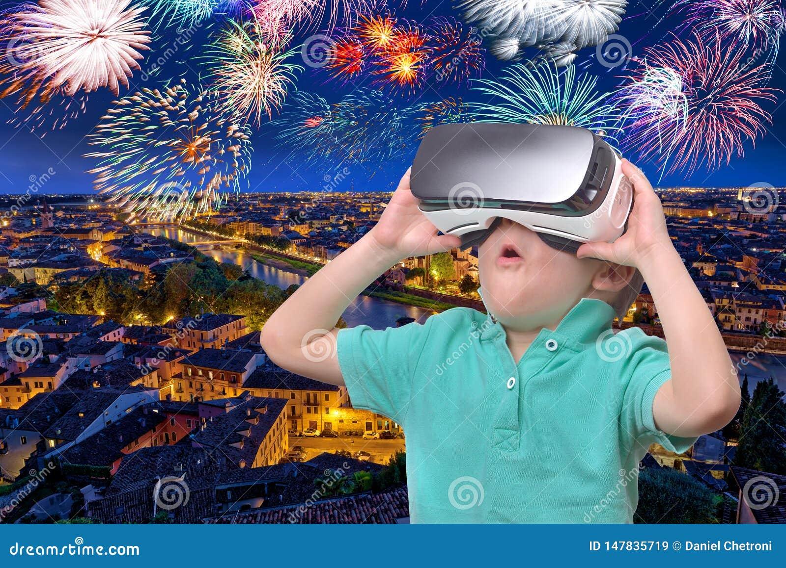 Amazed Teen Boy Wearing Virtual Reality Stock Photo