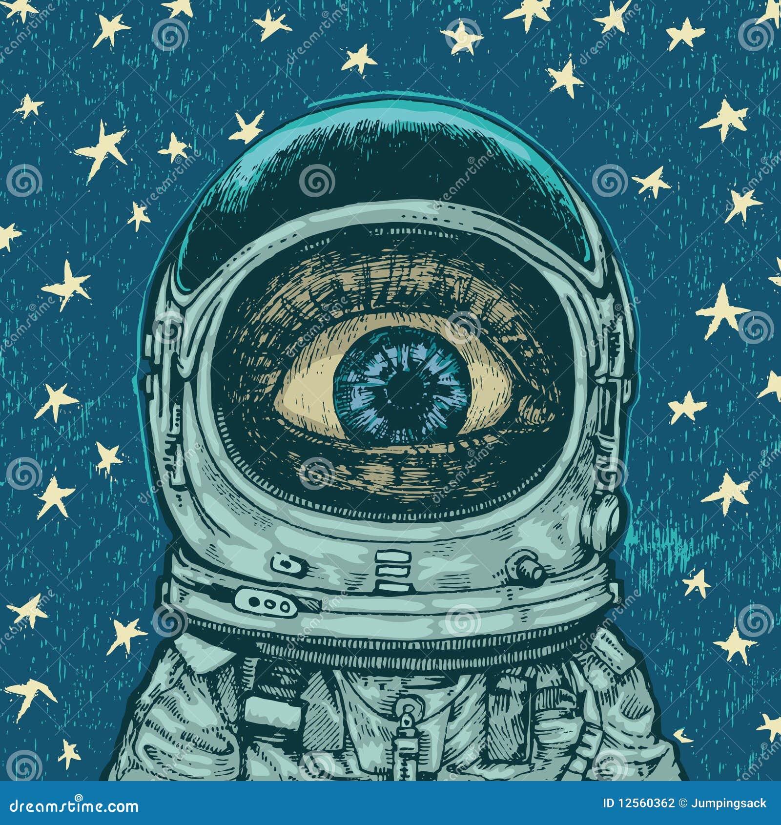 Download Amazement astronaut stock vector. Illustration of retro - 12560362