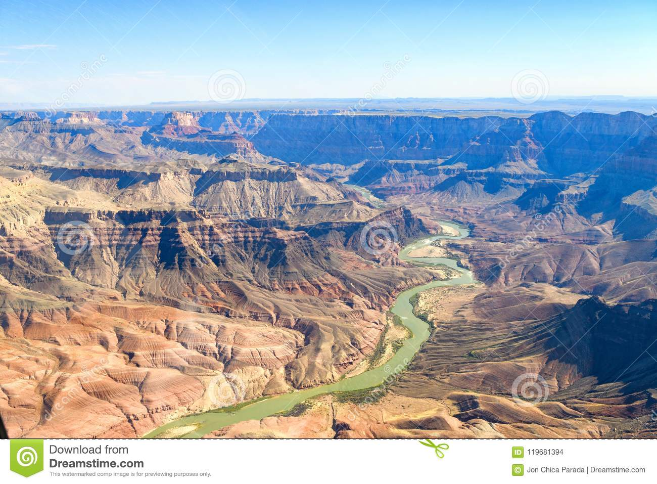 Aerial View Of Grand Canyon National Park Arizona Stock