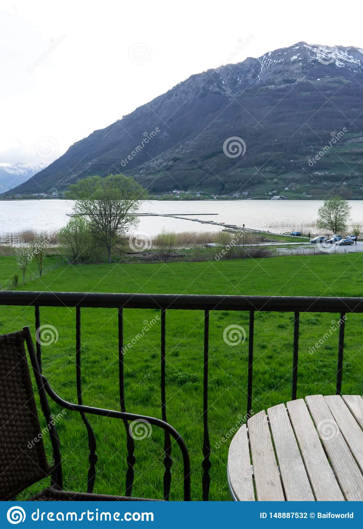 Amazing beautiful landscape of summer sea view from boutique balcony hotel, Show beach's chair and wooden table. Enjoying the