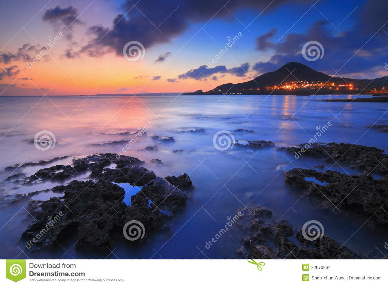 Sunset With Sea Wave Tap To See More Breathtaking Beach: Amazing Beautiful Sunset With Sea And Mountain Stock