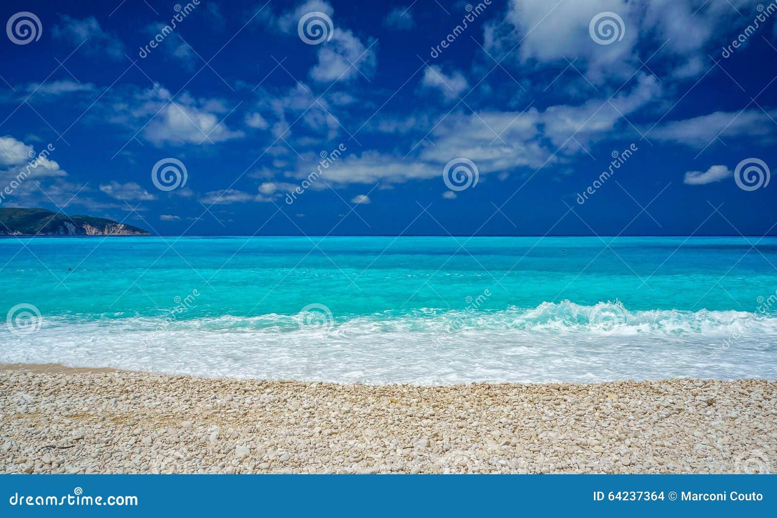 Amazing Blue Water In Myrtos Beach, Kefalonia Stock Photo ... - photo#5