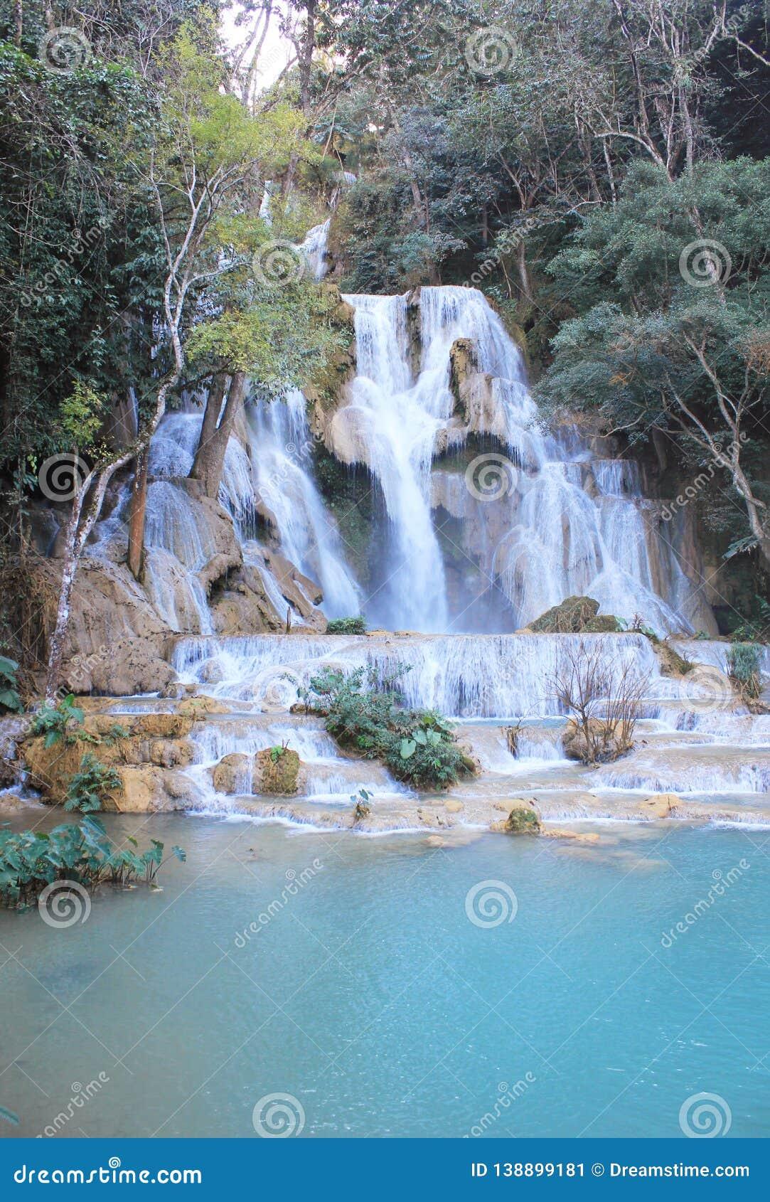 Amazing blue waterfalls near Luang Prabang, Laos