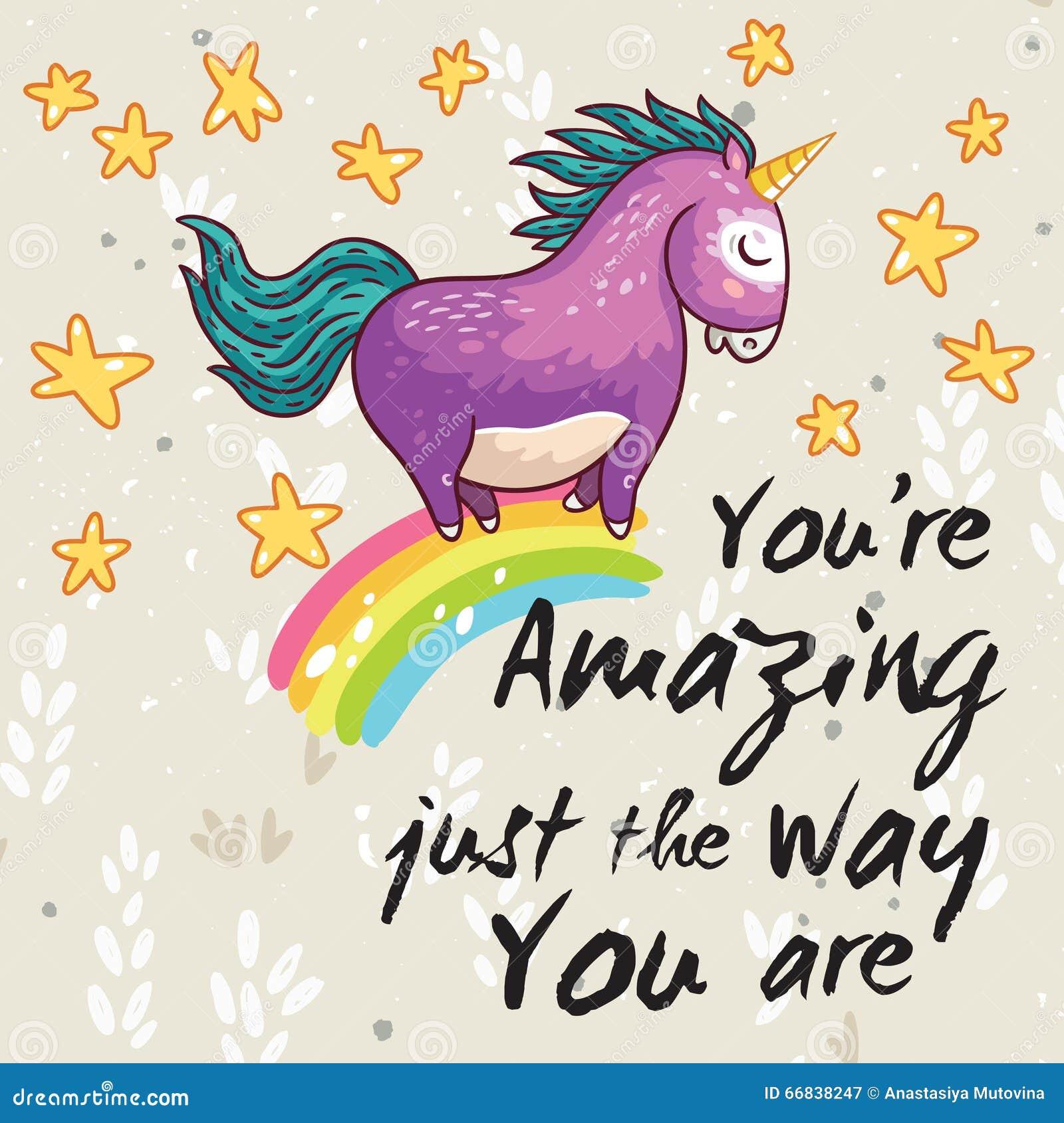 Amazing Cartoon: Amazing Card With Cute Unicorn. Vector Cartoon