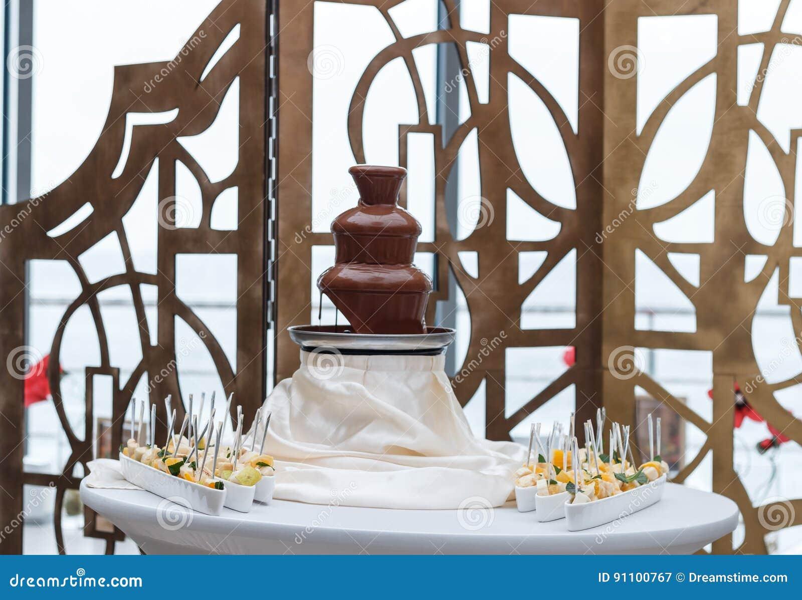 Amazing Chocolate Fountain Stock Image Image Of Decoration 91100767