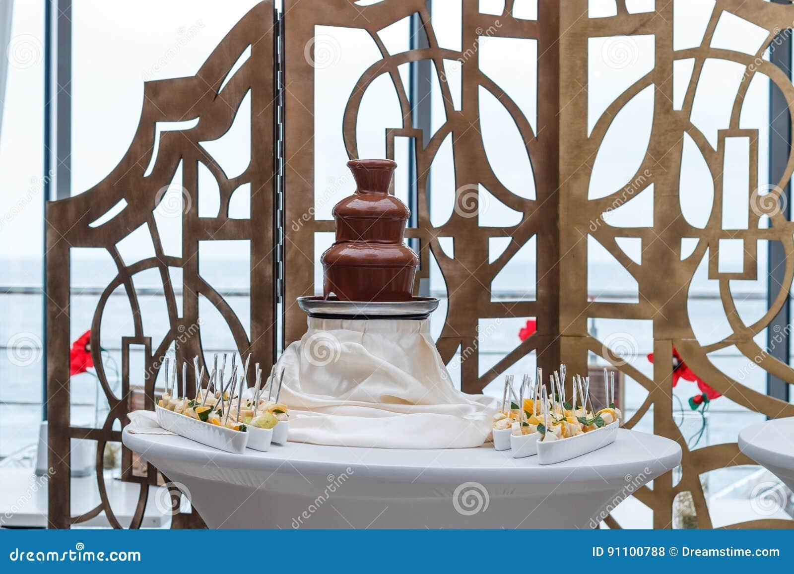 Amazing Chocolate Fountain Stock Photo Image Of Fountainn 91100788