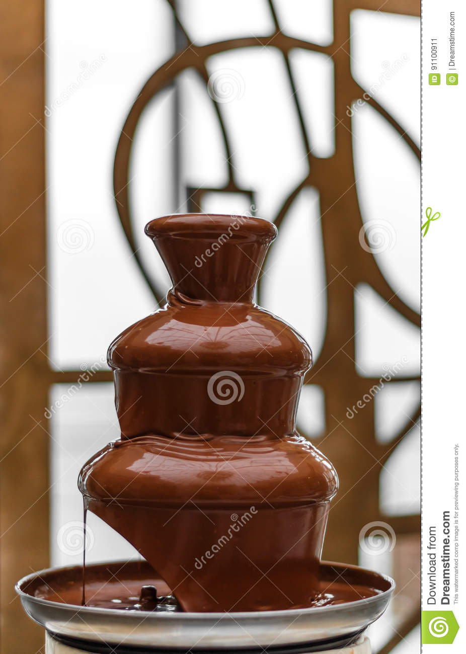 Amazing Chocolate Fountain Stock Image Image Of Event 91100911