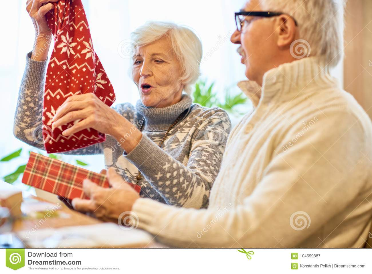 Amazing Christmas Gifts for Grandparents  sc 1 st  Dreamstime.com & Amazing Christmas Gifts For Grandparents Stock Image - Image of ...