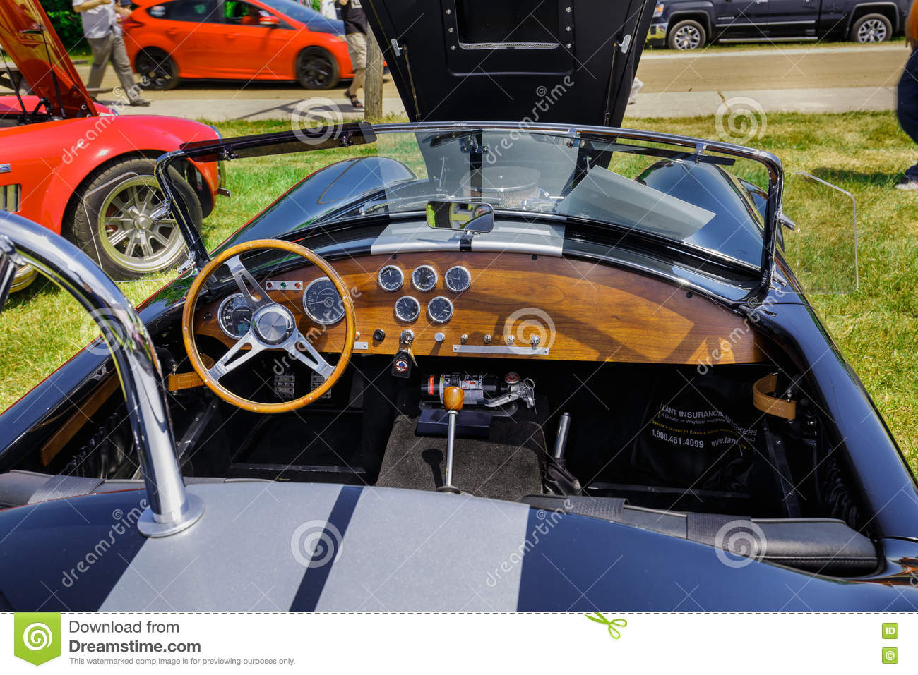 Amazing Closeup View Of Classic Vintage Sport Car Dashboard And ...