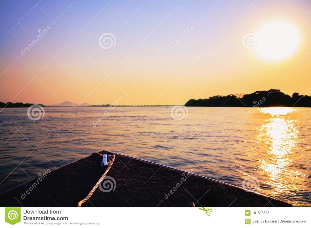 Amazing colorful landscape at sunset of a boat navigating on Pan