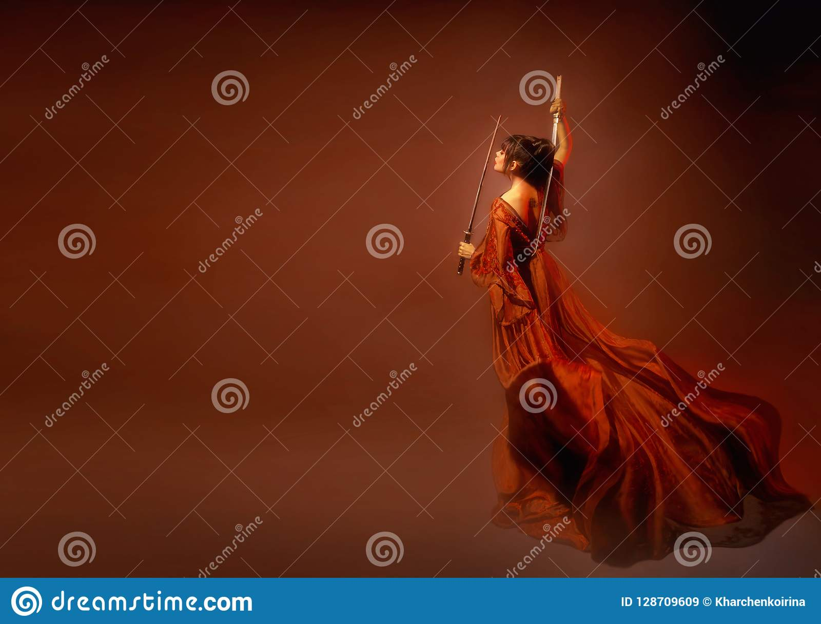 Amazing dark-haired Japanese samurai woman, a young girl in a light long red fluttering dress with open back and tattoo