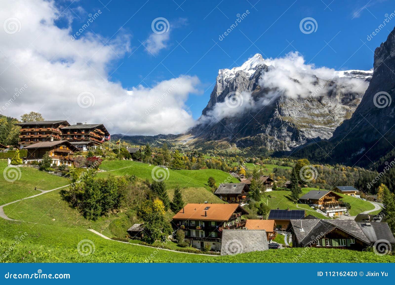 Amazing Dream Like Swiss Alpine Mountain Landscape Stock