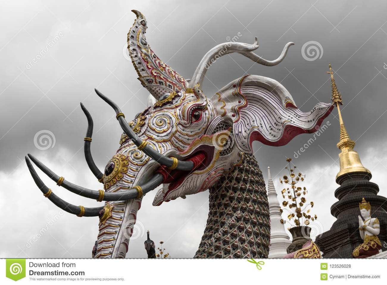 Amazing Elephant Divinity And Himmapan Mythical Creature With