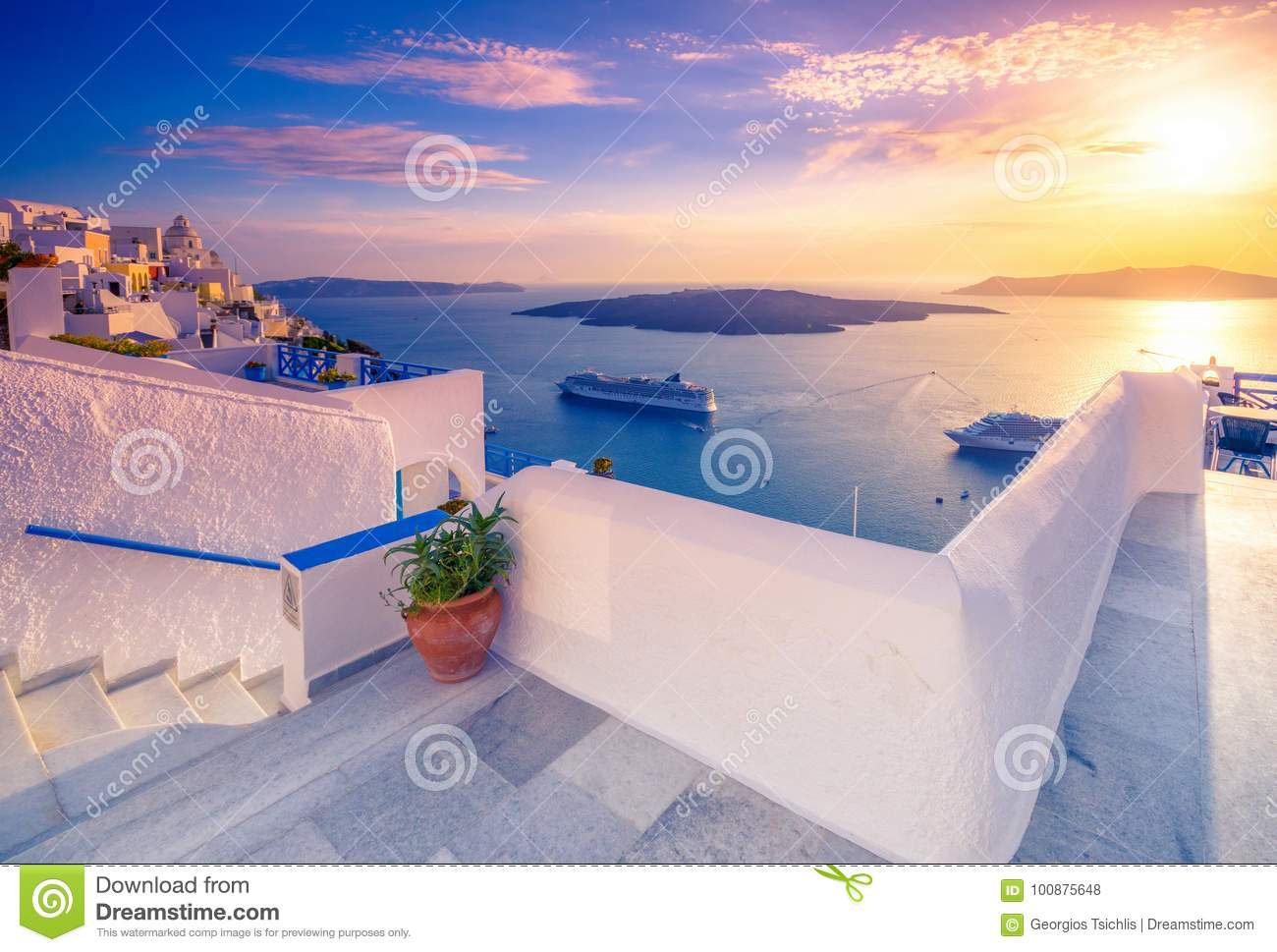 Download Amazing Evening View Of Fira, Caldera, Volcano Of Santorini, Greece. Stock Photo - Image of culture, caldera: 100875648