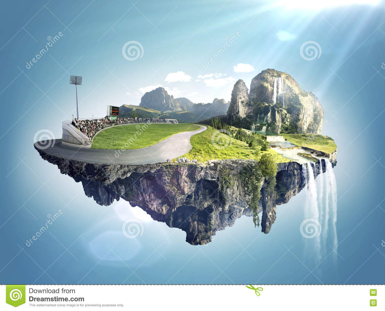 Amazing fantasy scenery with floating islands and water fall