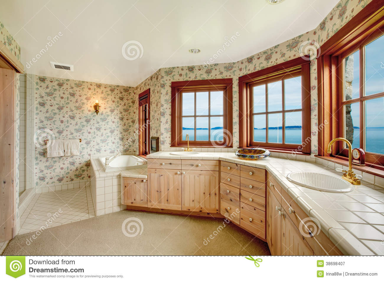 Amazing Floral Bathroom With French Windows Stock Image Image Of