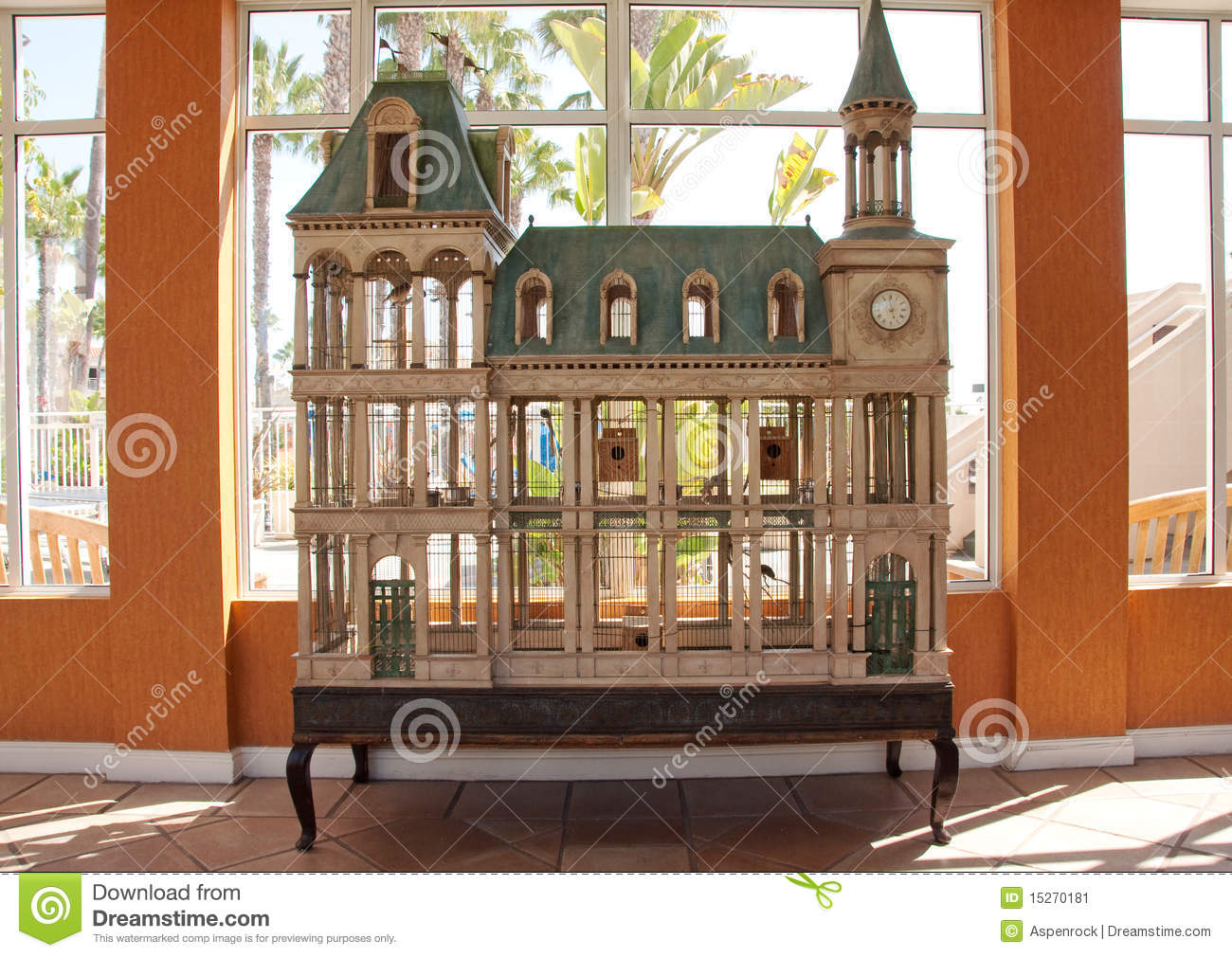 Window bird house - Detailed Four French Story Style Tower Wood House Built Window Living Clock Bird