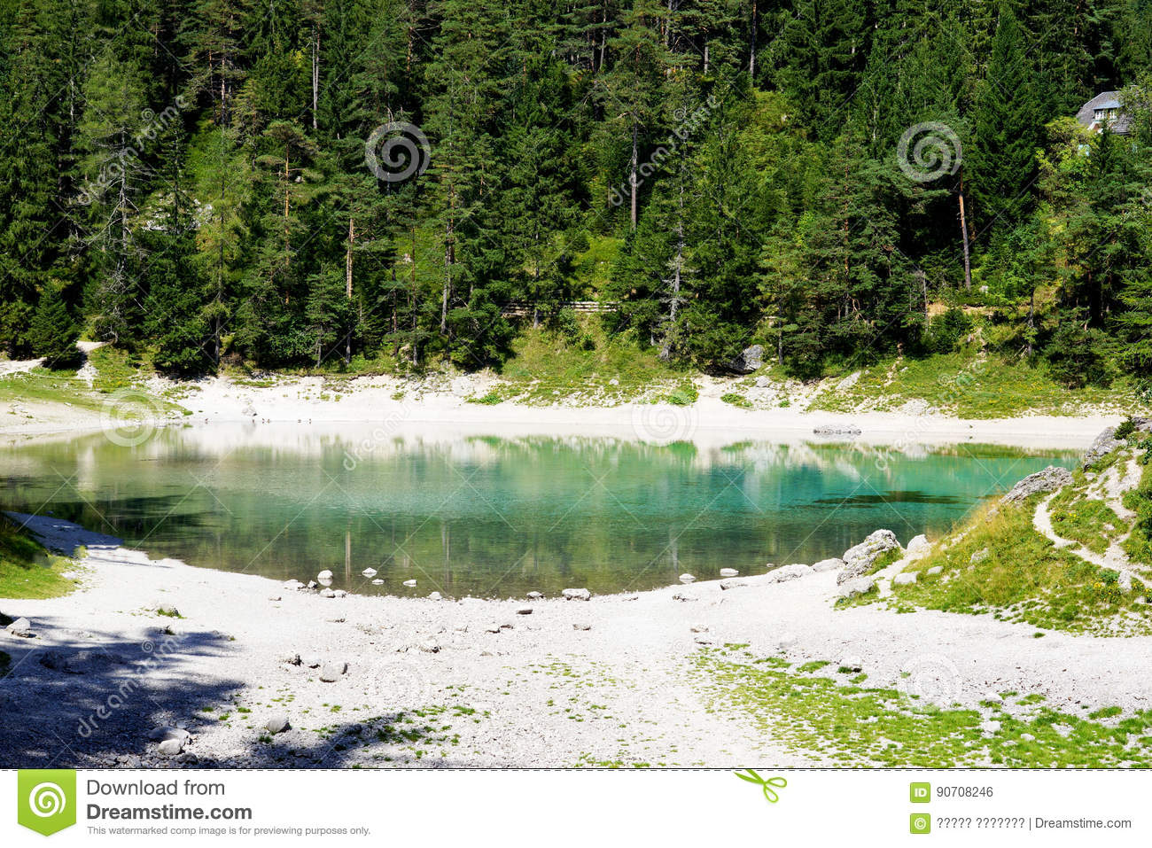 Deep In Heart Of Emerald Forest >> An Amazing Green Lake In Austria The Hohshwab Mountains Stock Photo